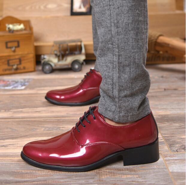 Mens Glossy Party Shoes Leather Dress Shoes - Xamns