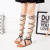 Lace Up Knee High Gladiator Sandals - Xamns
