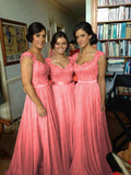 Elegant Bridesmaid Dresses Sweetheart Floor-Length Lace Formal Gowns