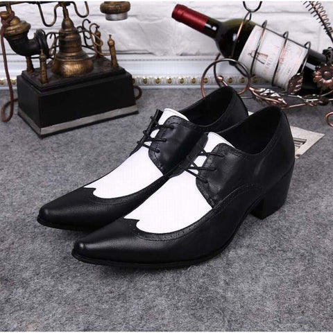 Italian Classic Black White Brogue Genuine Leather Lace Up Shoes