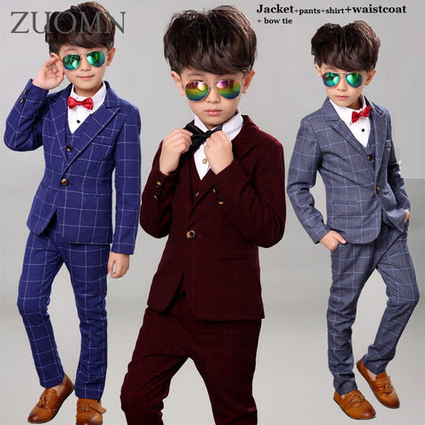 Boys Wedding Suits Kid Tuxedos 5pieces - Xamns