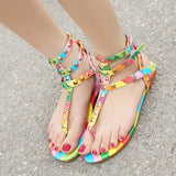 Gladiator Sandals Flats Multicolor Buckle