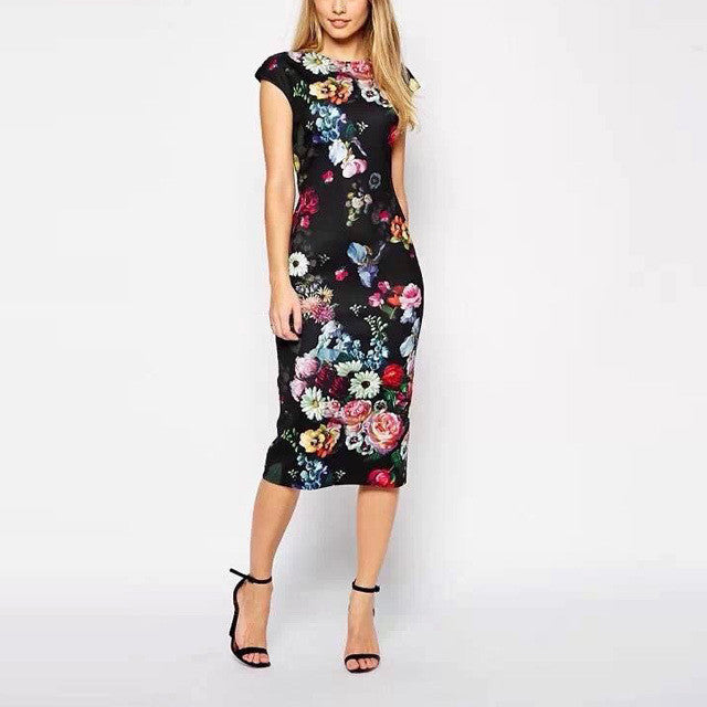 Floral Elegant Party Dress - Xamns