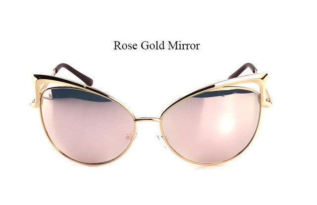 VICTORYLIP FASHION CAT EYE ROSE GOLD MIRROR WOMEN SUNGLASSES