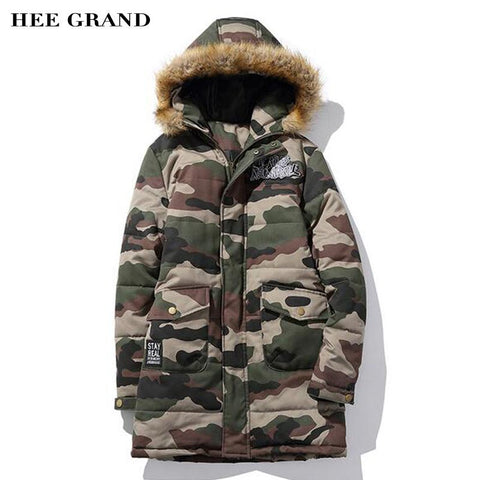 Long Stretch Camouflage Design Warm Padded Jacket