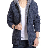 Men's Velvet Cotton Hooded Fur Knitted Zip Up Jacket
