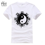 HanHent New 2016 Fashion Summer Brand T Shirt Men Tops Chinese Tai Chi Ink Ying Yang Tshirt Printed Cotton Clothing T-shirt Tees - Xamns