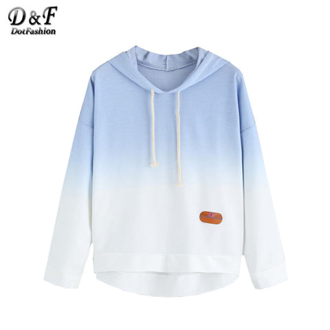 Dotfashion Color Block Blue Ombre Hooded Dip Hem Tops Women's Pullovers Round Neck Long Sleeve Sweatshirt - Xamns