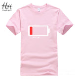 Hanhent Men T shirt Letters HELP ME Energy Low TShirt Male Battery Funny Cotton Tops Tees Boys 3D Fashion Summer Paried Tshirts - Xamns