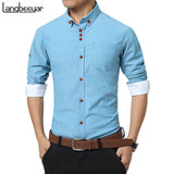 2016 New Fashion Casual Men Shirt Long Sleeve Trend Slim Fit  Men Solid Color High Quality Mens Dress Shirts Men Clothes 5XL - Xamns