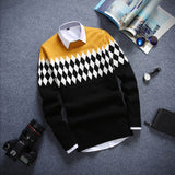 Round Neck Long Sleeved Men's Sweater - Xamns