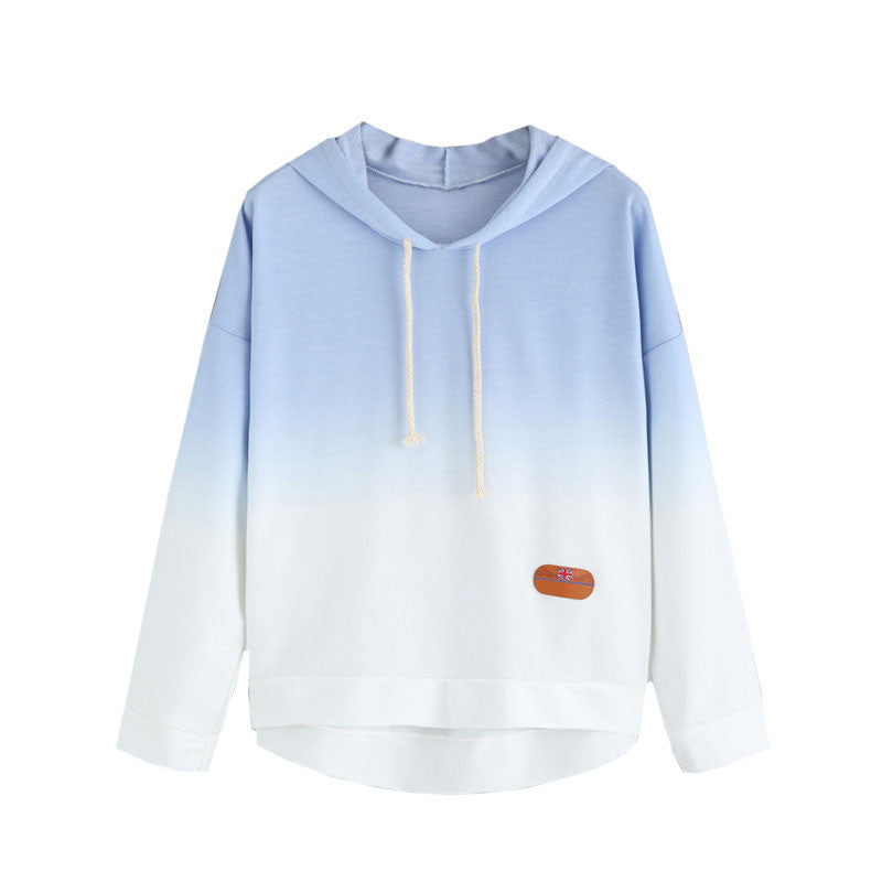 Dotfashion Color Block Blue Ombre Hooded