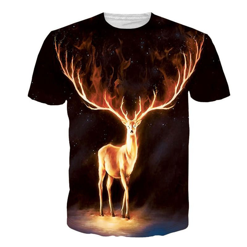 Elk Painted Cotton Short Sleeves 3D Print T Shirt