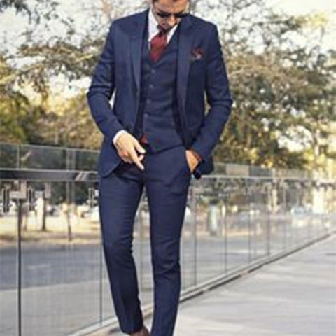 Custom Made Dark Blue Mens Suit Tailor Made - Xamns