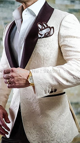 New Arrival Groomsmen Tuxedos Shawl Brown Lapel Men Suits - Xamns