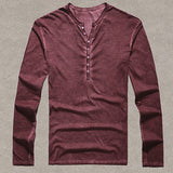 Brand Designer Men Cotton Vintage Henry T Shirts Casual Long Sleeve High quality Men old color Cardigan T shirt  2016 hot sale - Xamns