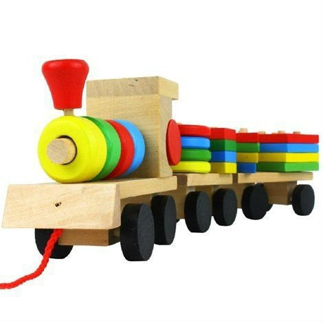 Shape Of Three Section Blocks Cars Small Tractor Train Environmental