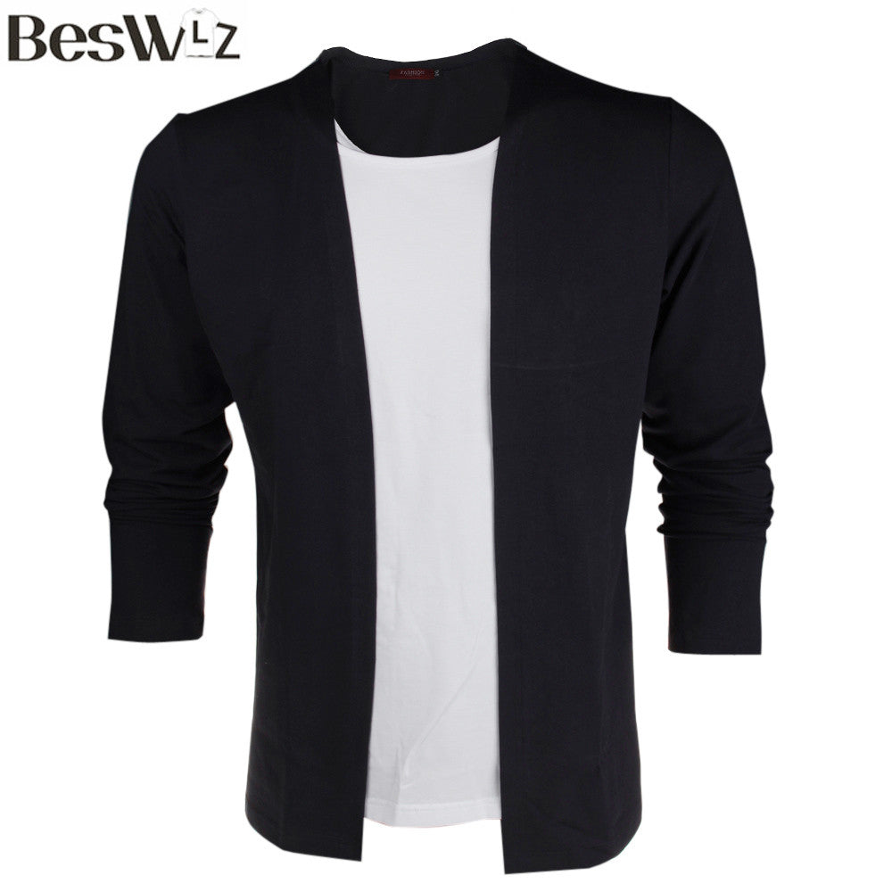 Beswlz Men's Long Sleeve T Shirts False Two Pieces Patchwork Contrast Color Autumn Casual Slim Style Cotton Men Tops Tees - Xamns