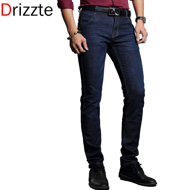 Drizzte Men's Jeans Stretch Blue Denim Business Slim Fit Jeans Size 30 32 34 35 36 38 Pants Jean for Men - Xamns