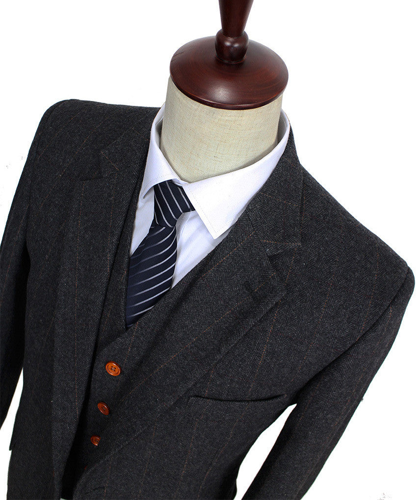 Wool Dark Grey Herringbone Tweed Tailor