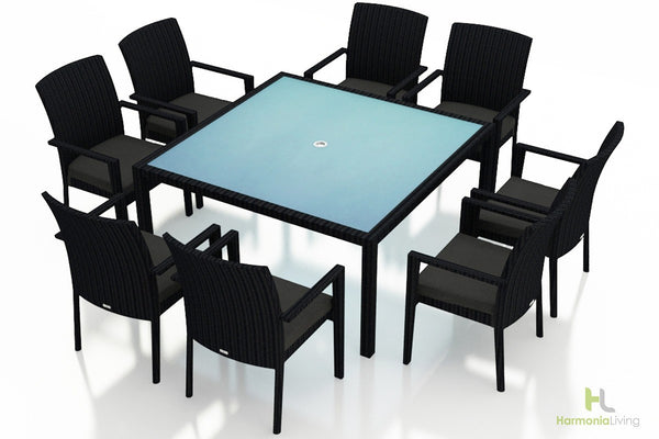 Urbana Coffee Bean 9 Pc Square Arm Dining Set