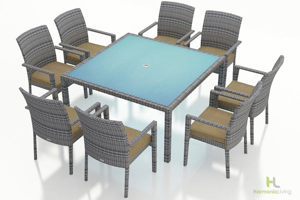 District 9 Pc Square Arm Dining Set