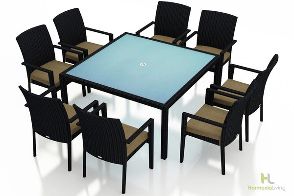 Urbana Coffee Bean 9 Pc Square Arm Dining Set - Skylar's Home and Patio