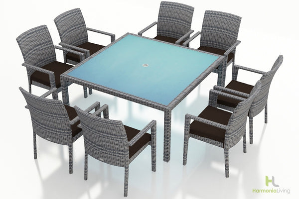 District 9 Pc Square Arm Dining Set - Skylar's Home and Patio