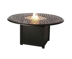 "52"" Round Propane Fire Pit Chat Table - Skylar's Home and Patio"