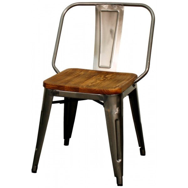 Brian Metal Side Chair Wood Seat, Set of 4