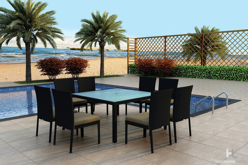 Urbana Coffee Bean 9 Pc Square Dining Set - Skylar's Home and Patio