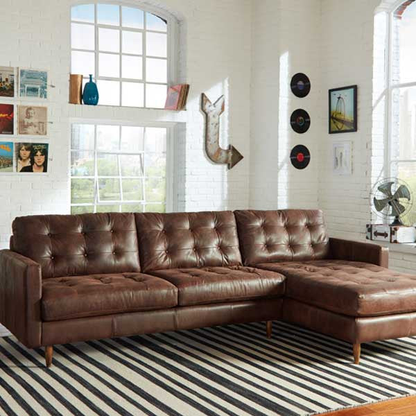 Harrison Mid Century Leather Sectional - Skylar's Home and Patio