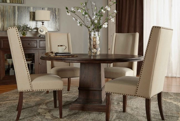 Hudson Round Dining Table with Morgan Dining Chairs Set - Skylar's Home and Patio