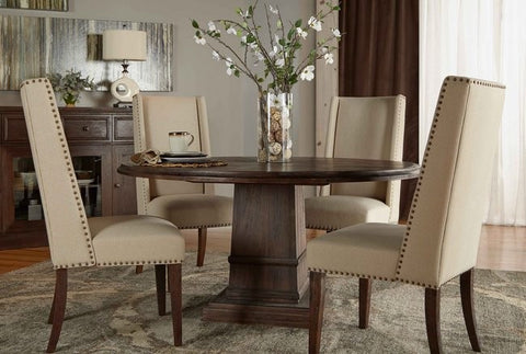 Hudson Round Dining Table with Morgan Dining Chairs Set
