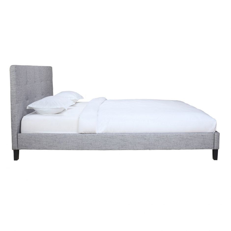 Eliza Queen Bed Light Grey Fabric