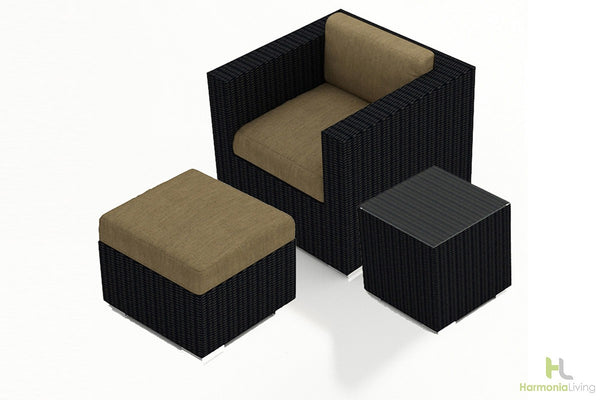 Urbana Canvas Charcoal 3 Pc Club Chair Set