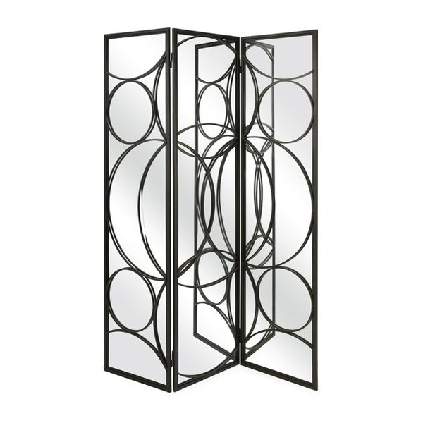 Serline Mirror and Iron Floor Screen