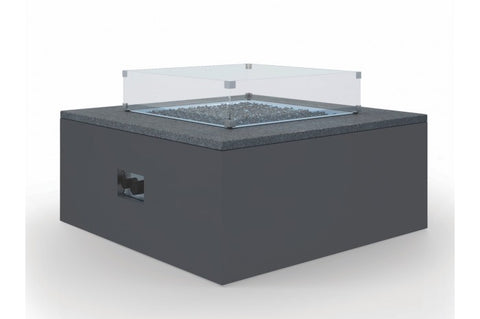"Milano 42"" Honed Absolute Slate Granite Square Fire Table - Skylar's Home and Patio"