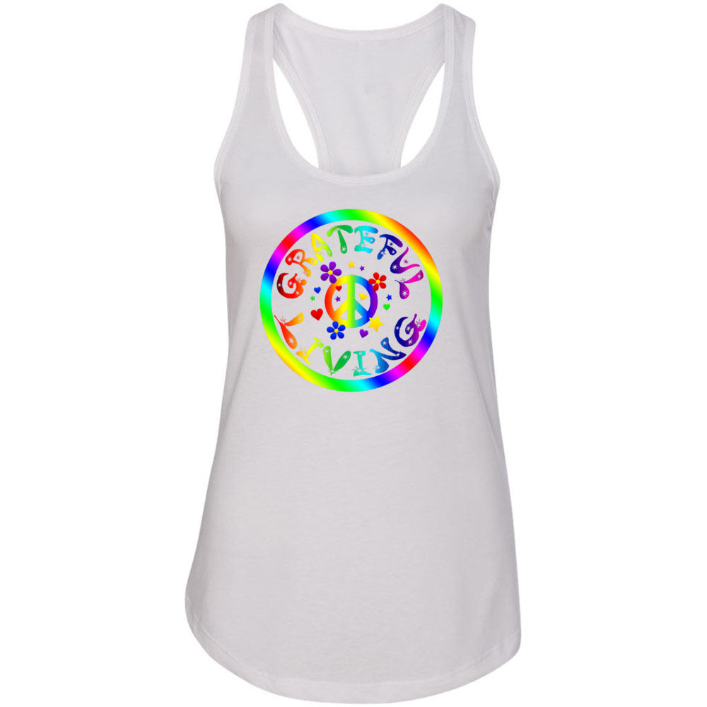 GRATEFUL LIVING Fitted Racerback Tank Top - FabulousLife