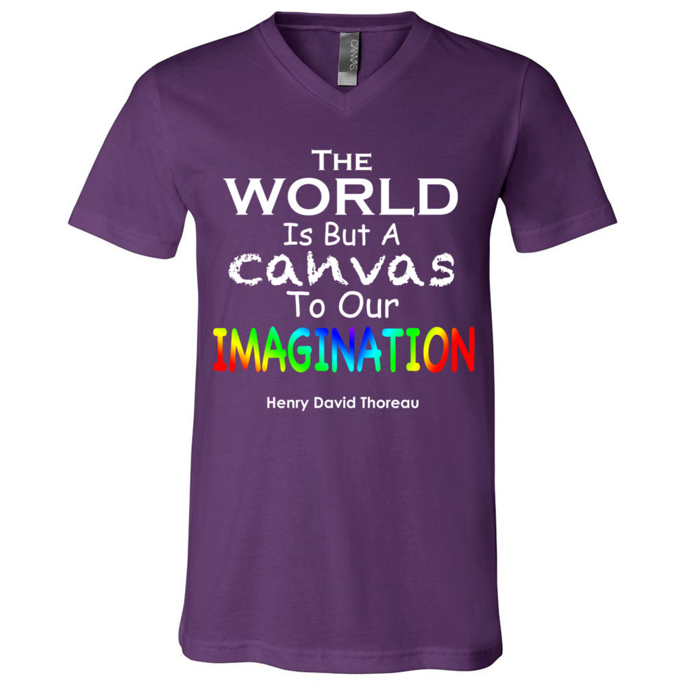 THE WORLD IS A CANVAS TO OUR IMAGINATION Short Sleeve V-Neck Jersey T-Shirt - FabulousLife