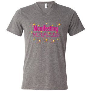 MANIFESTING MIRACLES - Unisex Triblend Short Sleeve V-Neck T-Shirt - FabulousLife