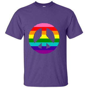 Rainbow Peace Sign on Purple T-Shirt:  Show Your Pride!  Sizes S-5XL - FabulousLife