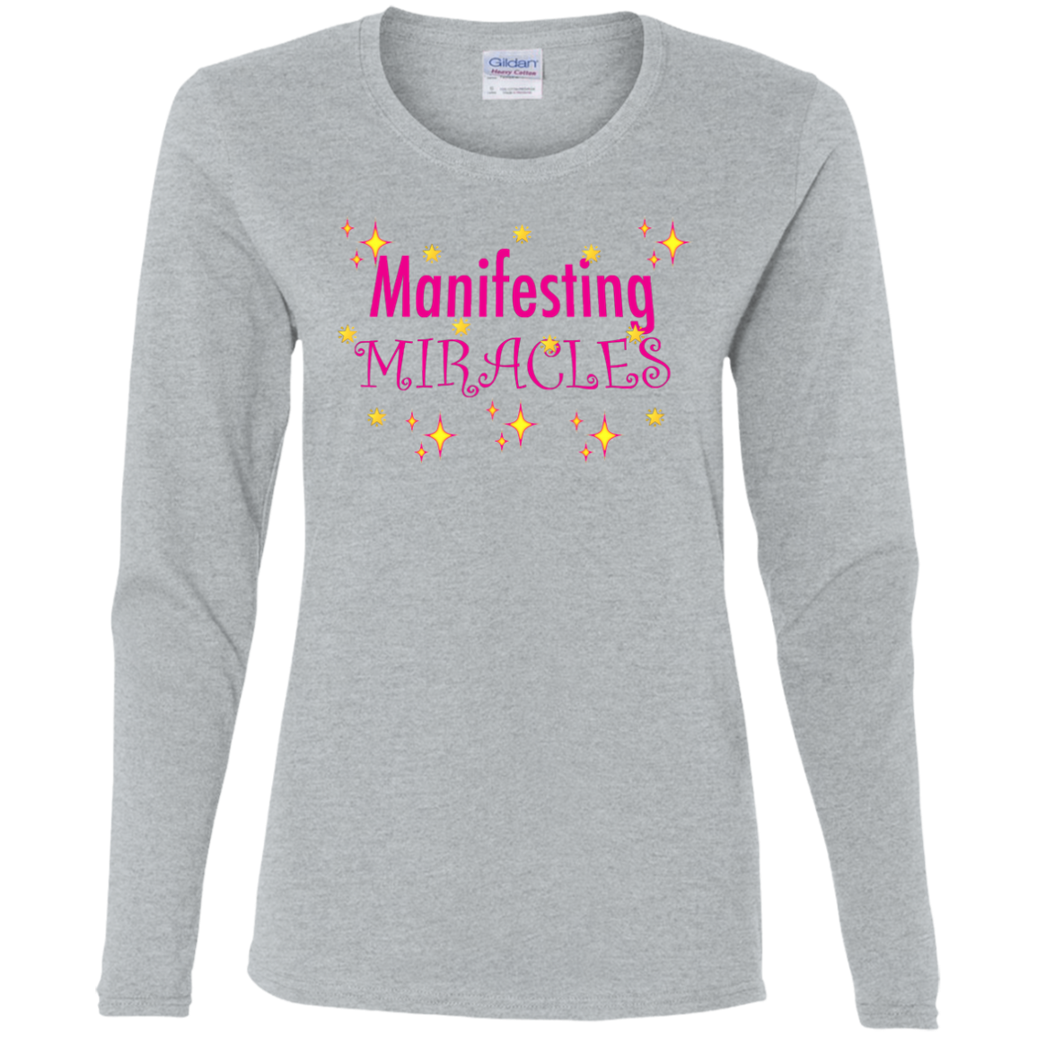 MANIFESTING MIRACLES FITTED Cotton Long Sleeve T-Shirt - FabulousLife