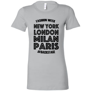 FASHION WEEK BACKSTAGE Slim Fit T-Shirt,  White, Turquoise, or Silver - FabulousLife