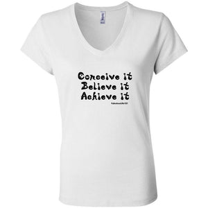 CONCEIVE IT, BELIEVE IT, ACHIEVE IT: Fitted Short Sleeve V-Neck Cotton T-Shirt - FabulousLife