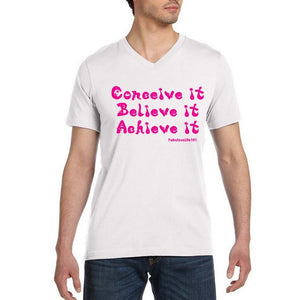 CONCEIVE, BELIEVE, ACHIEVE - Unisex Short Sleeve T-Shirt, V-Neck, 100% Cotton - FabulousLife