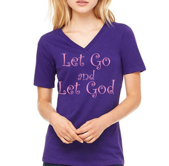 LET GO and LET GOD - Unisex Short Sleeve V-Neck Jersey T-Shirt - FabulousLife
