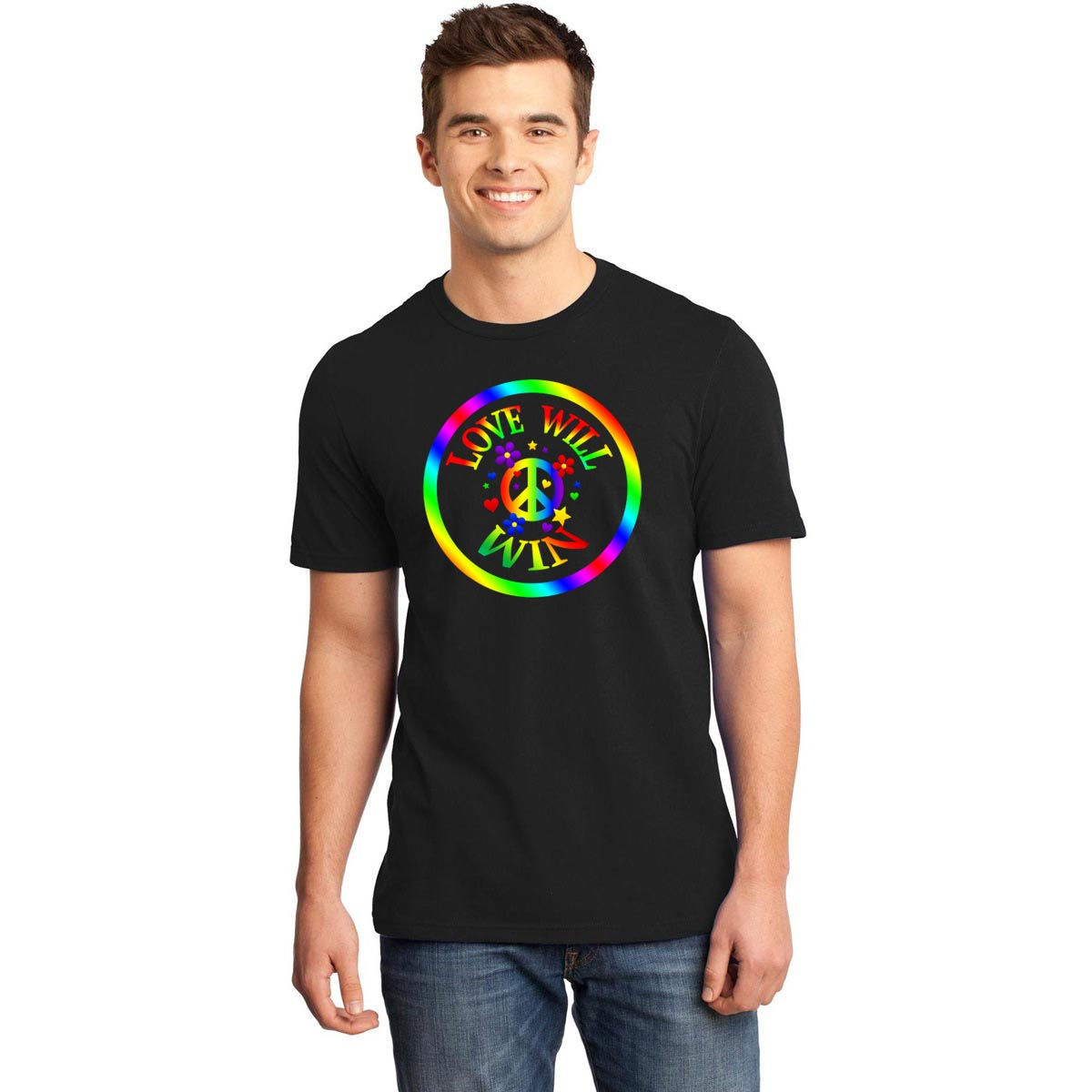 """LOVE WILL WIN"" Rainbow, Peace Sign Cotton Shirt - FabulousLife"
