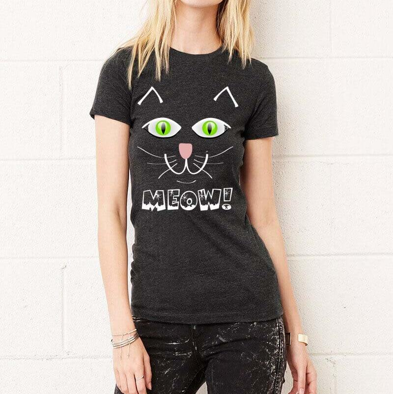 MEOW!  Black Cat Halloween Fitted Favorite T-Shirt Exclusive Design, FREE SHIPPING! - FabulousLife