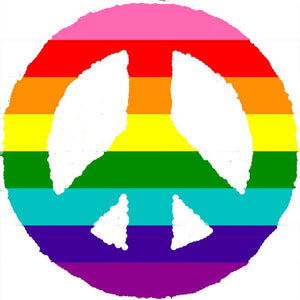 Rainbow Peace Sign Cotton T-Shirt in Black or White.  Show Your Pride! Sizes S-3XL - FabulousLife